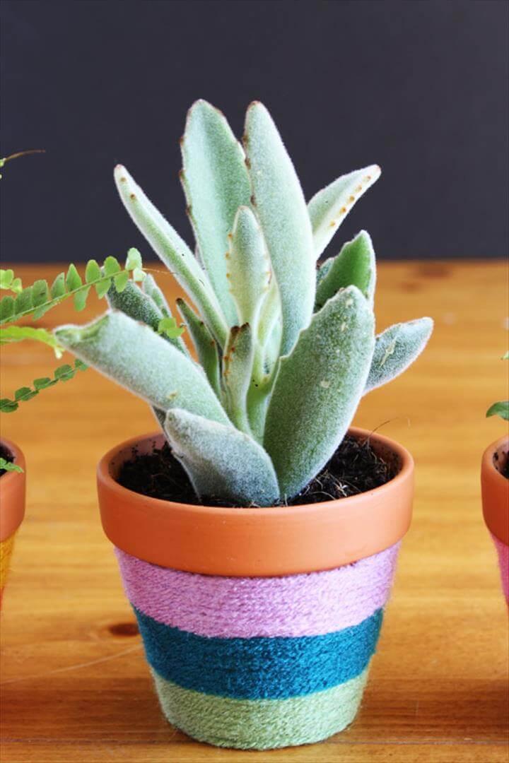 yarn wrapped flower pot idea