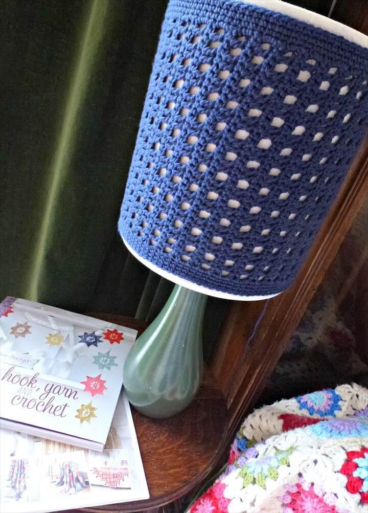 blue crochet lamp shade