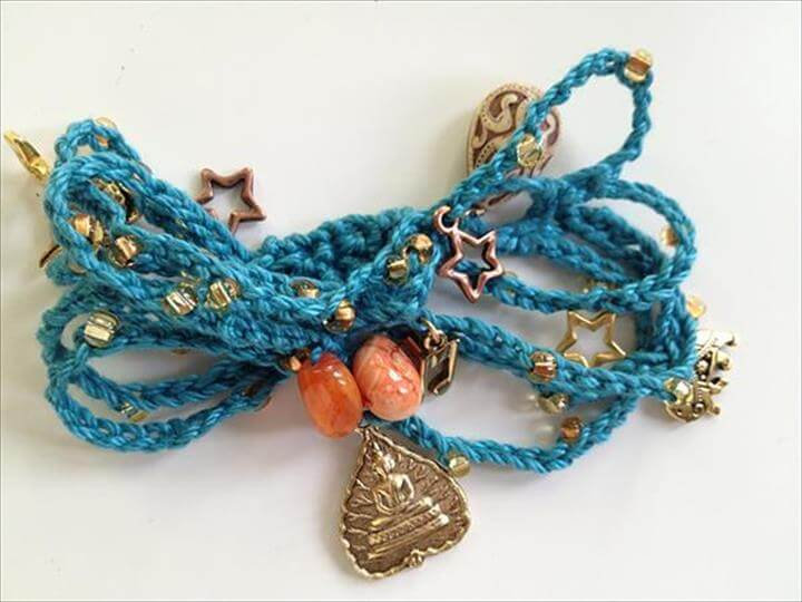 Easy Crochet Bead Chain Bracelet:
