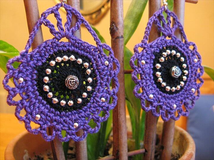 Cameo Inspired Crochet Earrings in Purple