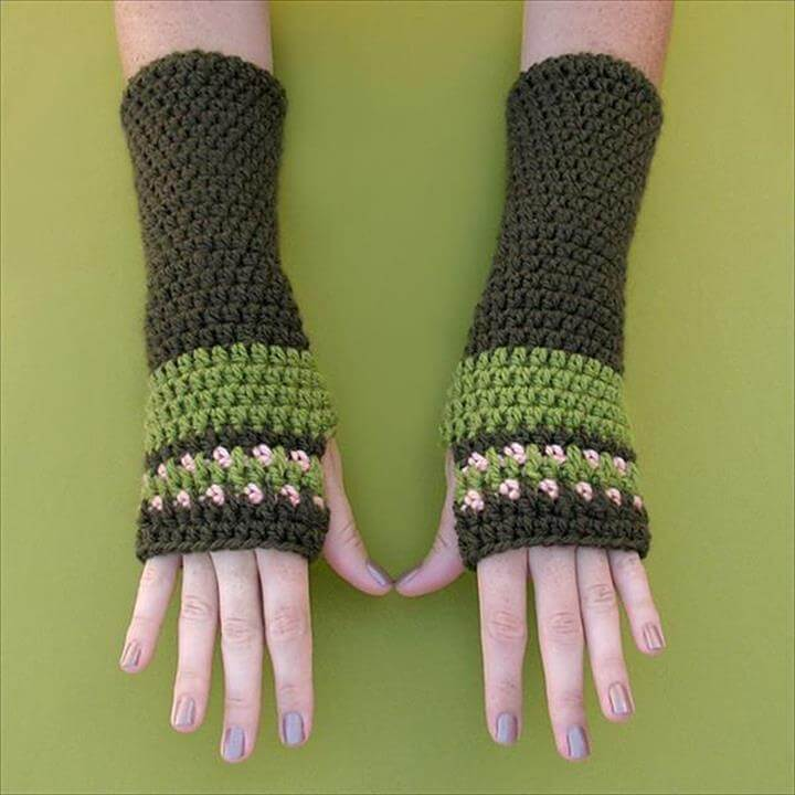 diy crochet arm warmer pattern