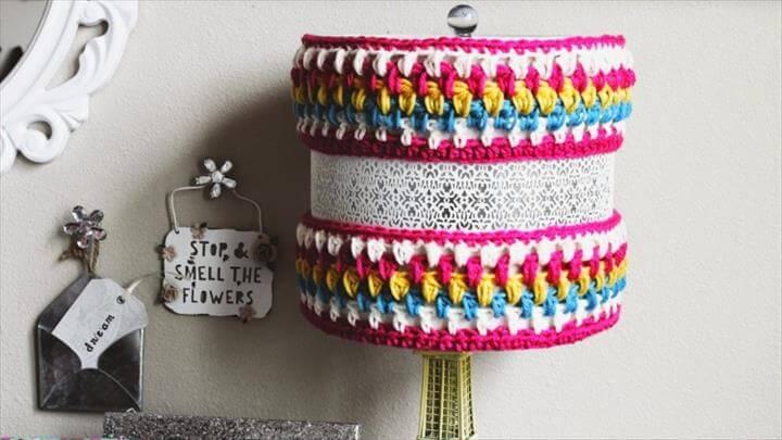 DIY: Crocheted Lamp Cozy Pendant Lighting Crochet DIY Handmade rustic .