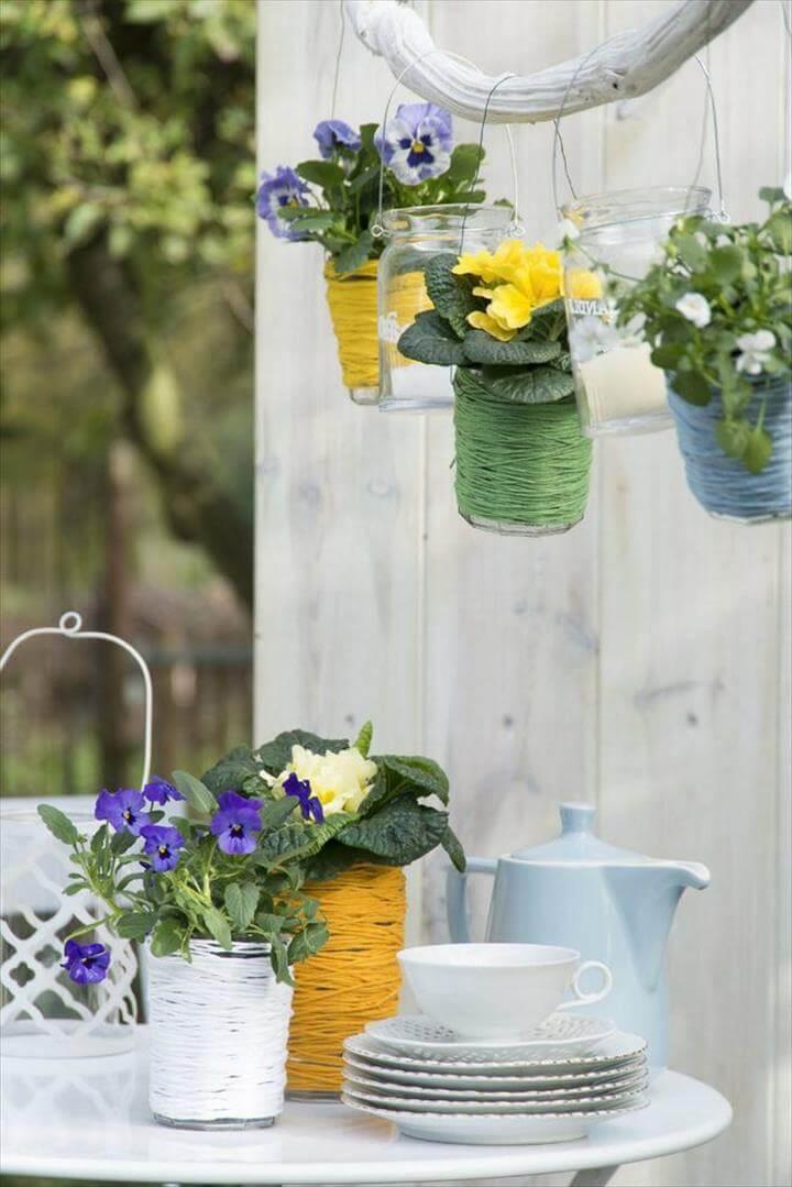 yarn hanging flower pots