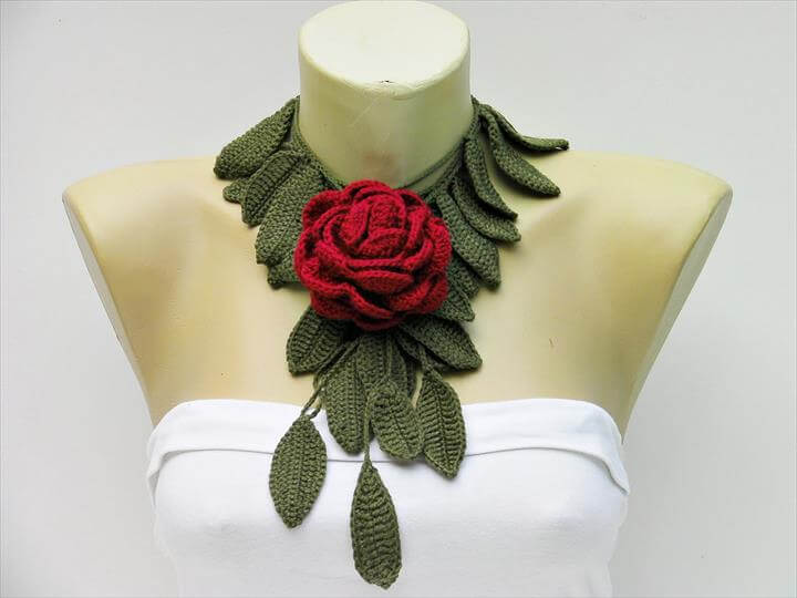 green and mehroon Crochet Jewelry Flowers