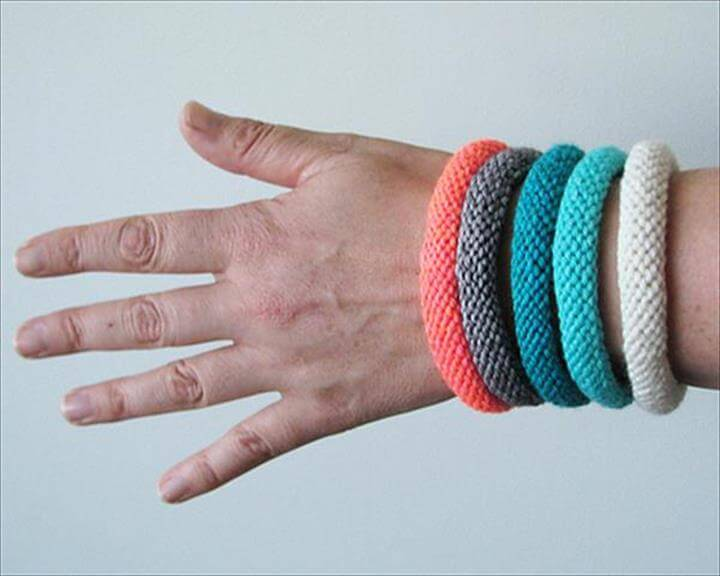 Knitted Colorful Crochet Bangles: