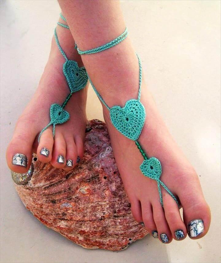 heart crochet barefoot sandals