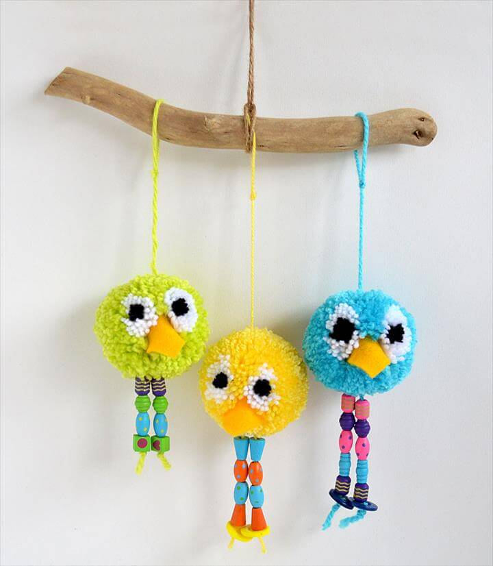 pom pom bird craft by michelle McInerney