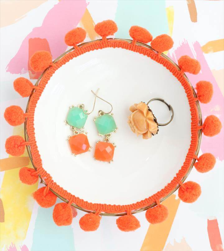 Easy DIY Pom Pom Ring and Jewelry Dishes