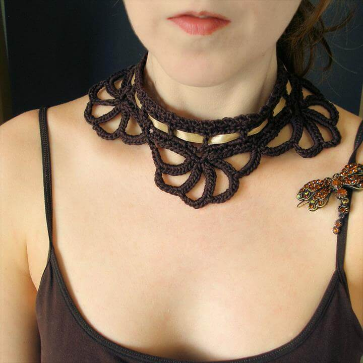 steampunk dyi crochet necklace choker pattern design