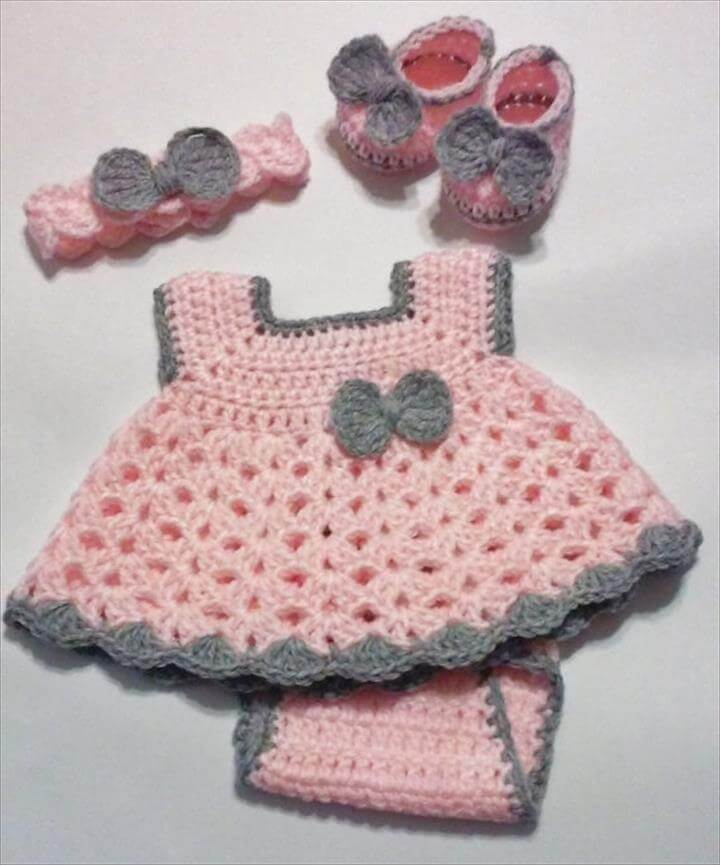 Crochet Pink and Gray Baby Girl Dress Set with Diaper Cover, Headband and Ballerina Booties