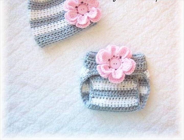 Newborn Baby Girl Crochet Flower Hat & Diaper Cover Set Pink Gray and White Stripes