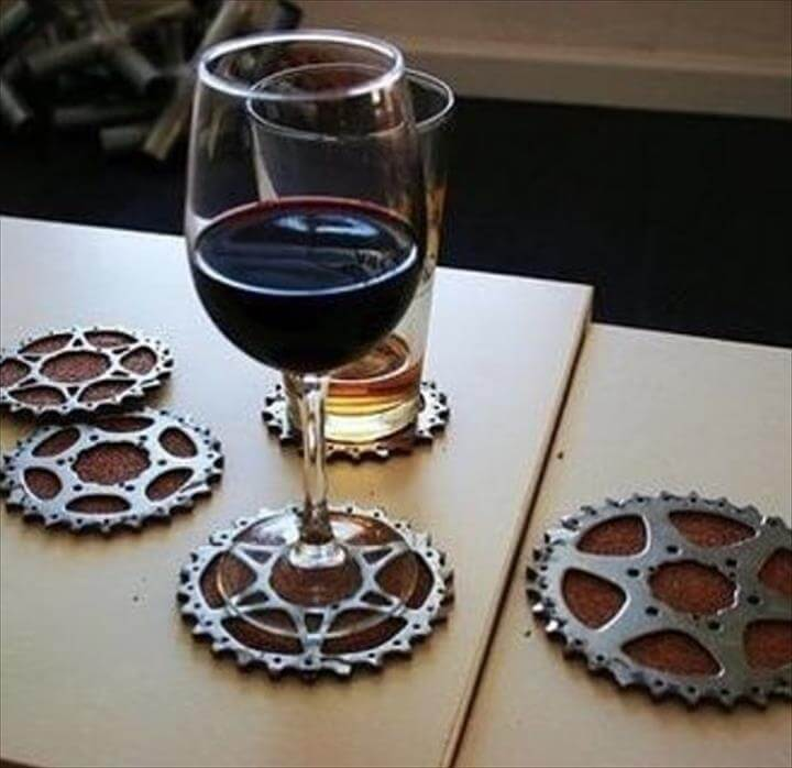 bicycle gears made into cup holders