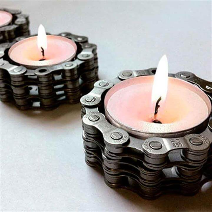 Bike Chain Tea Light Holder