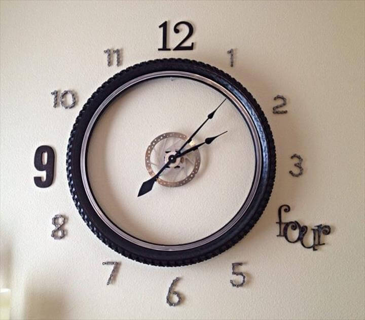 diy bike wheel wall clock