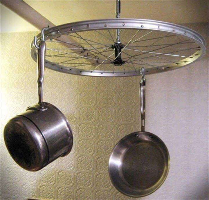 hanging kitchen pots on bike wheel
