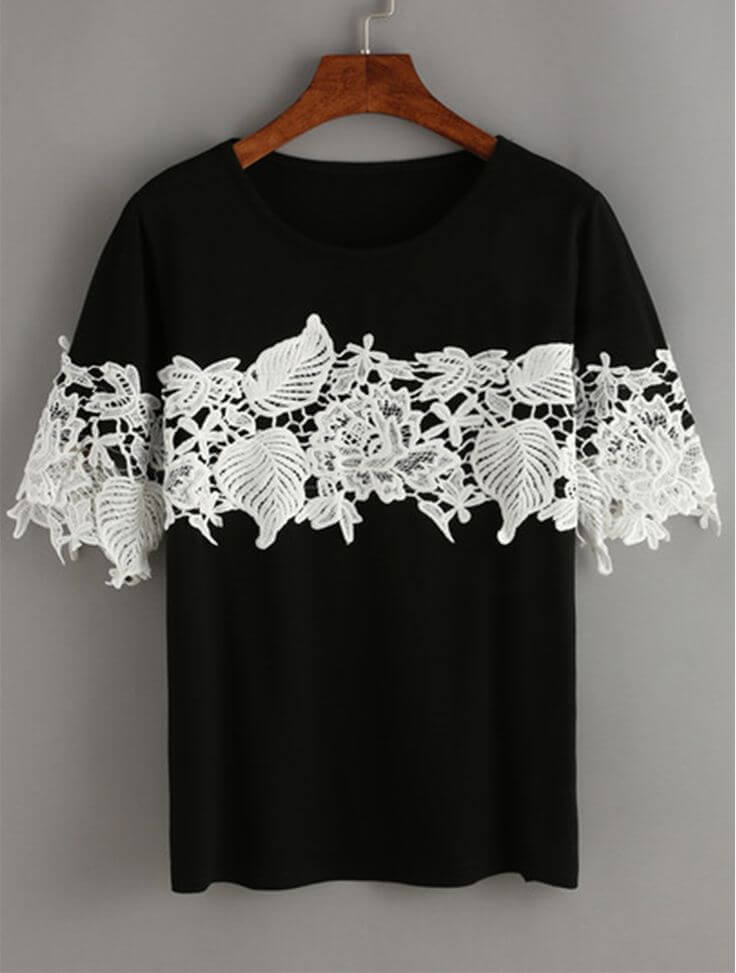 T-shirt-With Lace Design