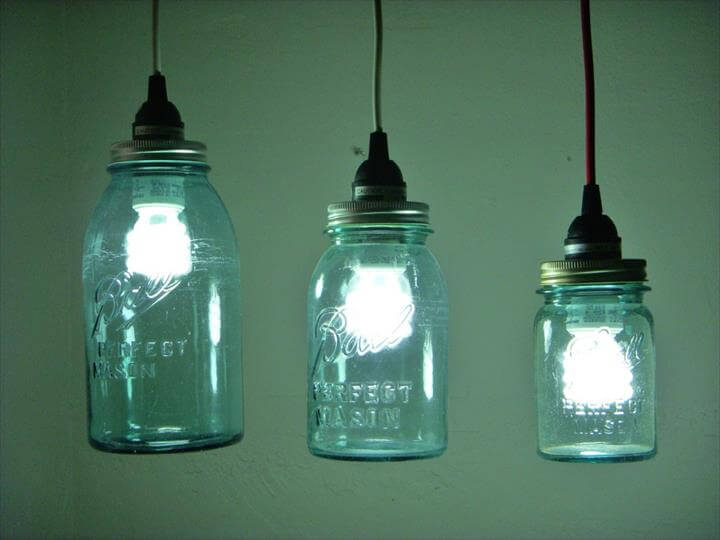 diy blue mason jar fixtures made of blue mason jars and halogen lightbulbs