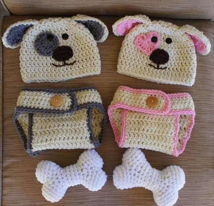 boy and girl twin puppy hats and diaper covers