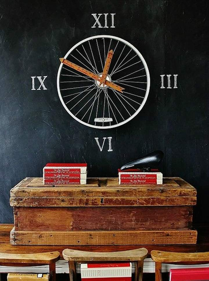 View in gallery clock repurposed bike wheel