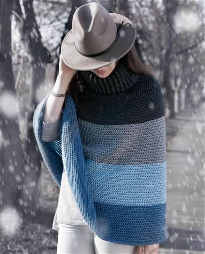 Cozy Cowl Poncho Free Crochet Pattern