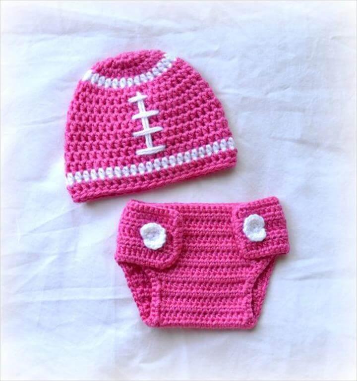 Crochet Baby Football Beanie Hat and Diaper Cover Set Watermelon Pink Newborn