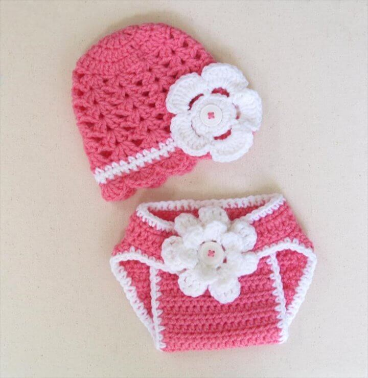 Crochet baby summer hat & diaper cover set