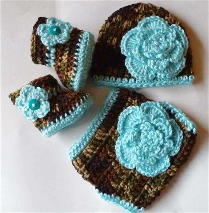 Crochet Camouflage Diaper Cover Set Turquoise Flowers Beanie Hat Flower Booties Camo Diaper Cover, Newborn