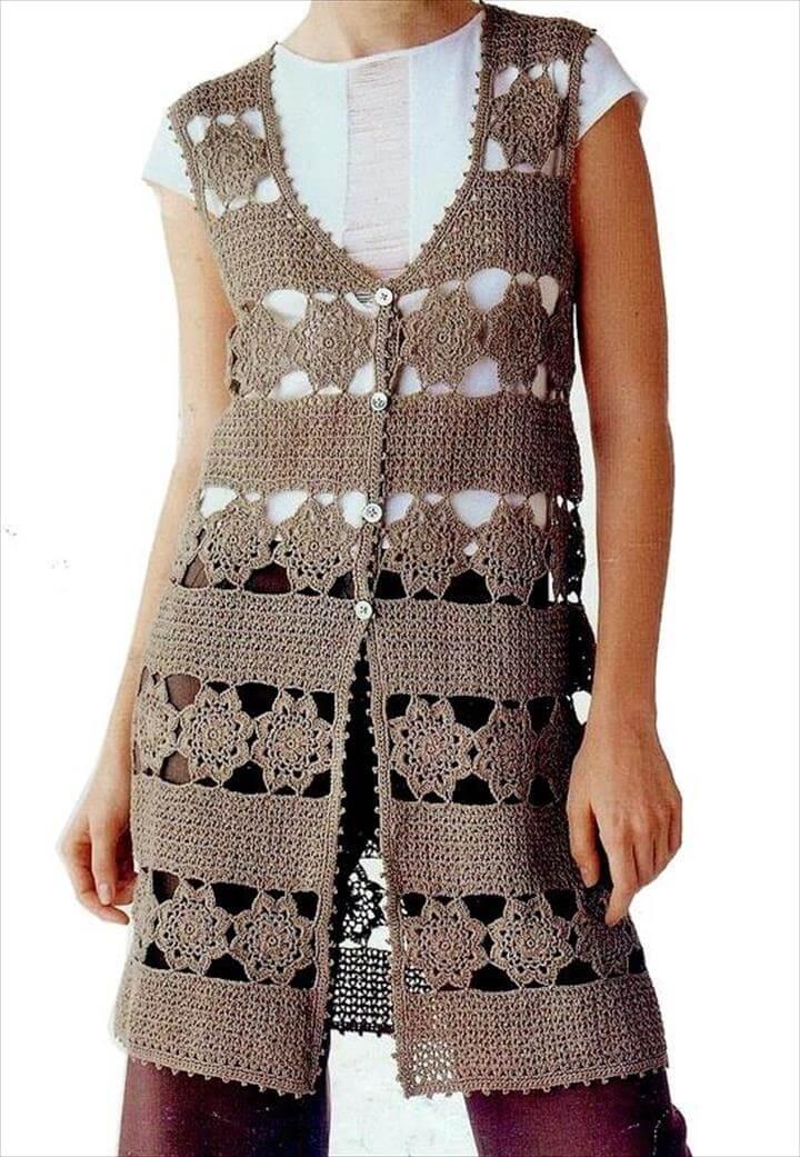 Crochet Cardigan Pattern - Long Vest
