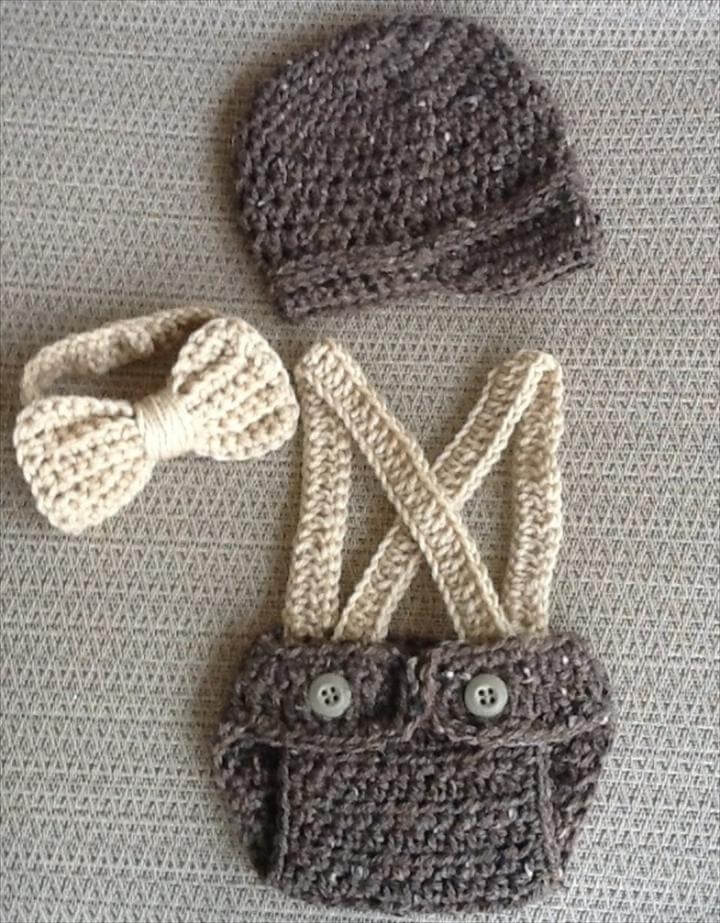 Little Mister Outfit- Little Man Suit/ Suspenders Baby Boy Outfit Barley-- Crochet