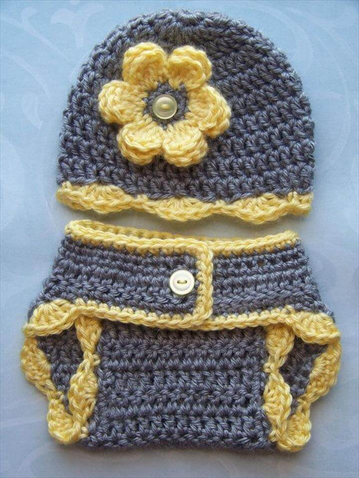 Crochet Baby Diaper Cover Hat Set, Newborn Diaper Cover, Infant Diaper Cover Set,