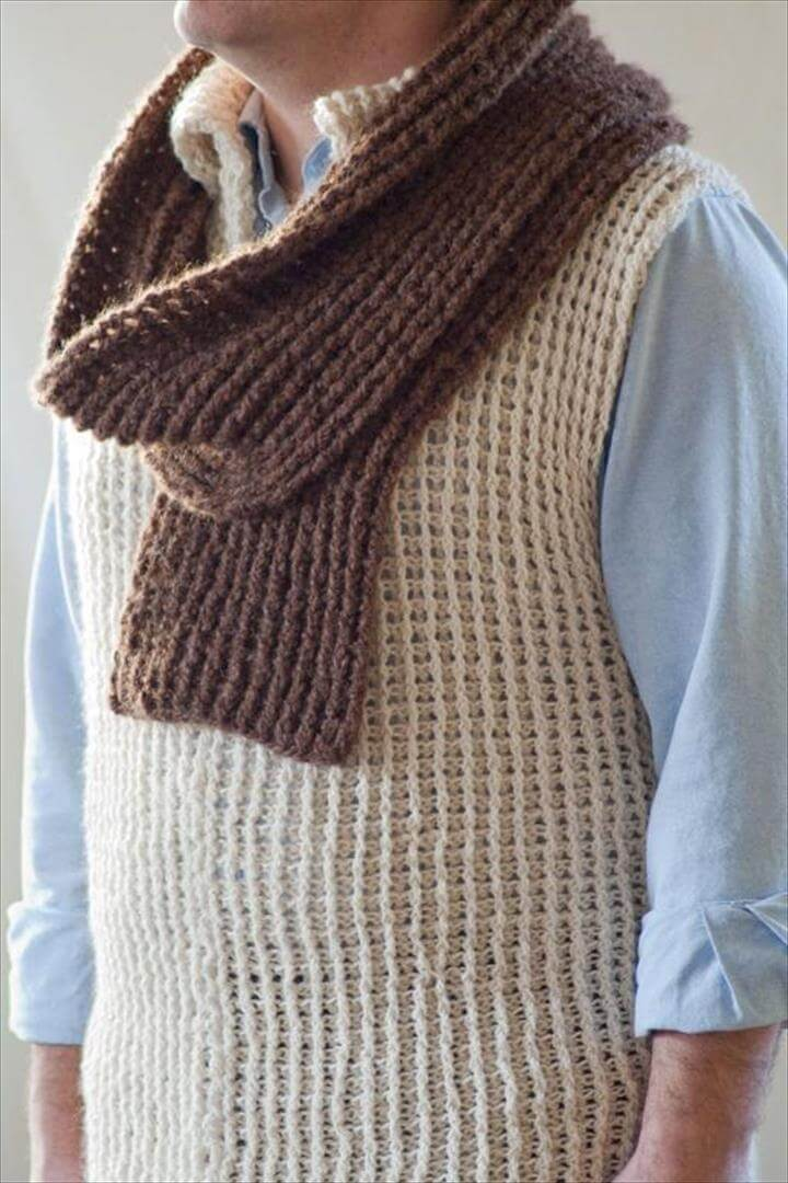 crochet men sweater vest
