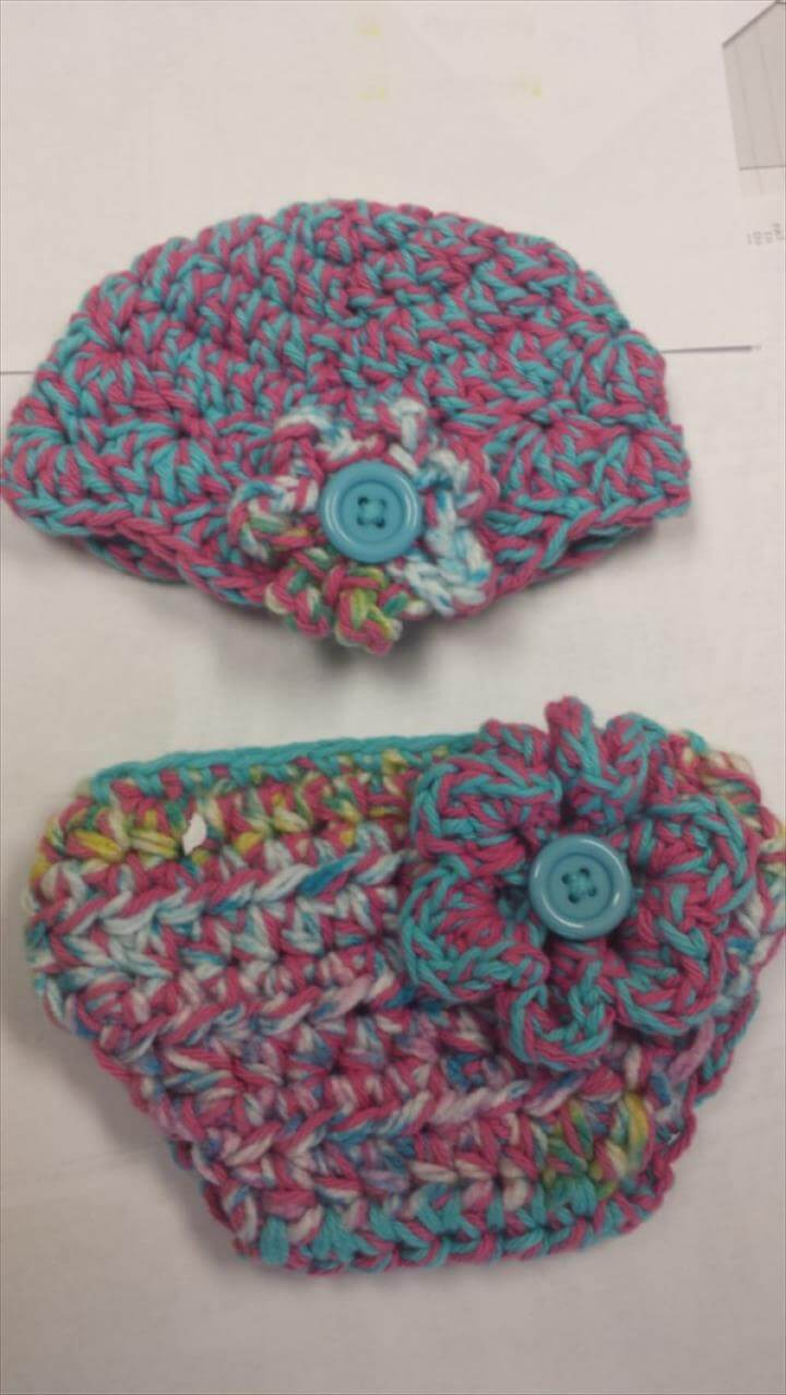 3d8b3f0a73d Crochet Outfit - Baby Outfit - Hat and Diaper Cover - Crochet Hat - Crochet  -