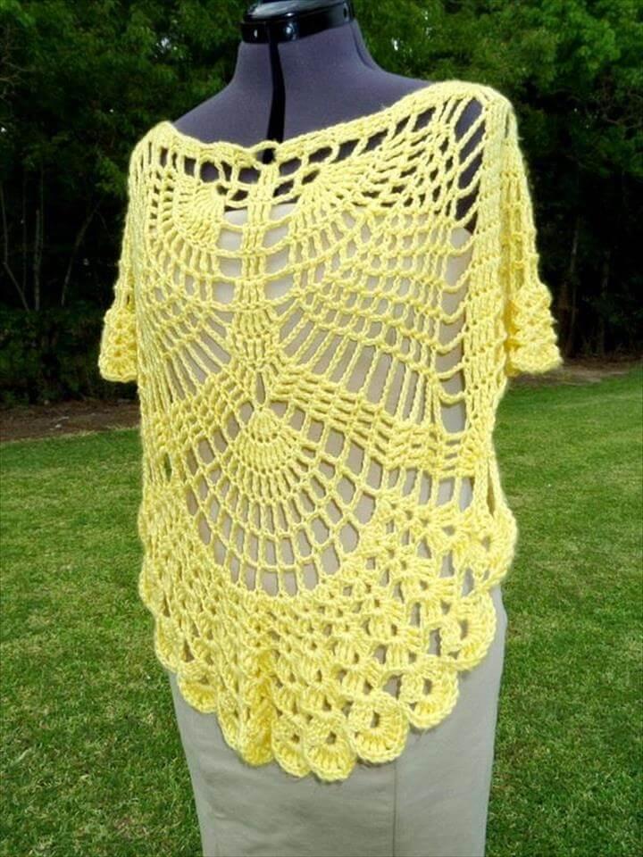 Crochet Poncho Pattern - Oval Lace Doily