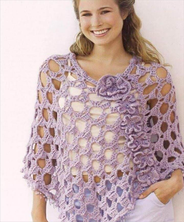 Crochet Summer Lacey Poncho with Flowers Free Char.