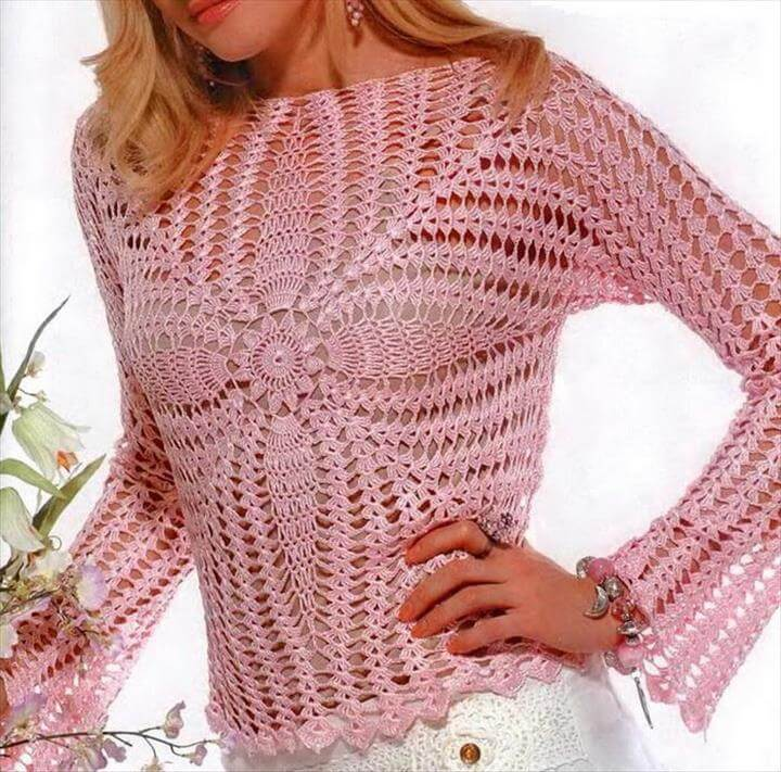 CROCHET ROSE SWEATER
