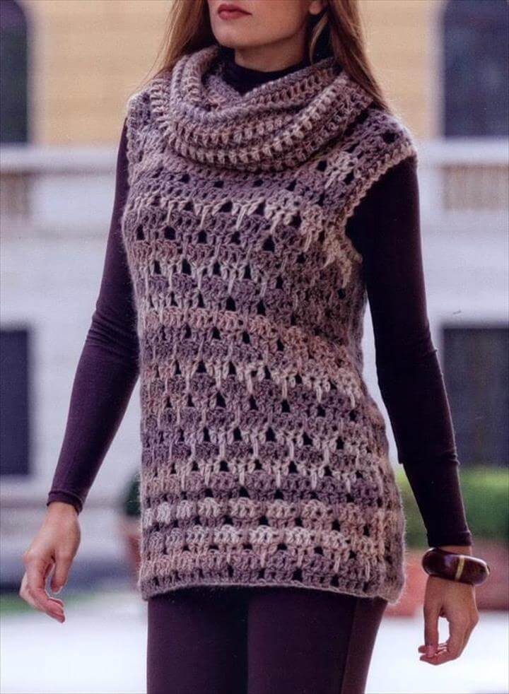 Free Crochet Tunic Pattern For Beginners : 20 Stylish Crochet Sweater Vest Design DIY to Make