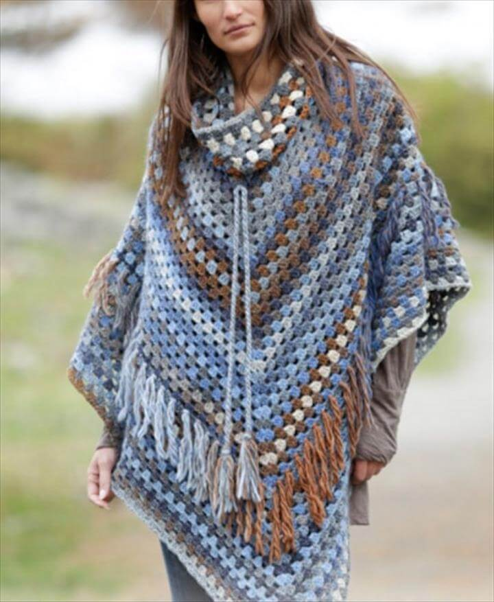Poncho Knitting Patterns Free : 24 Adorable Summer Poncho Free Crochet Design DIY to Make