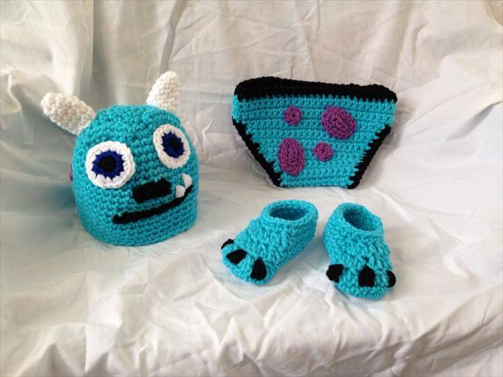 "Crocheted Baby ""Monsters Inc Sully Inspired"" Hat Diaper Cover"
