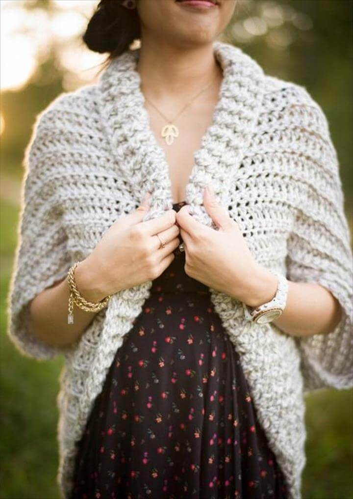 DIY Crochet Cardigan Sweater Coat Free Patterns-Easy Chunky Crochet Sweater Free Pattern