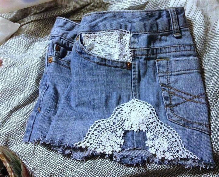 DIY Laced Denim Shorts