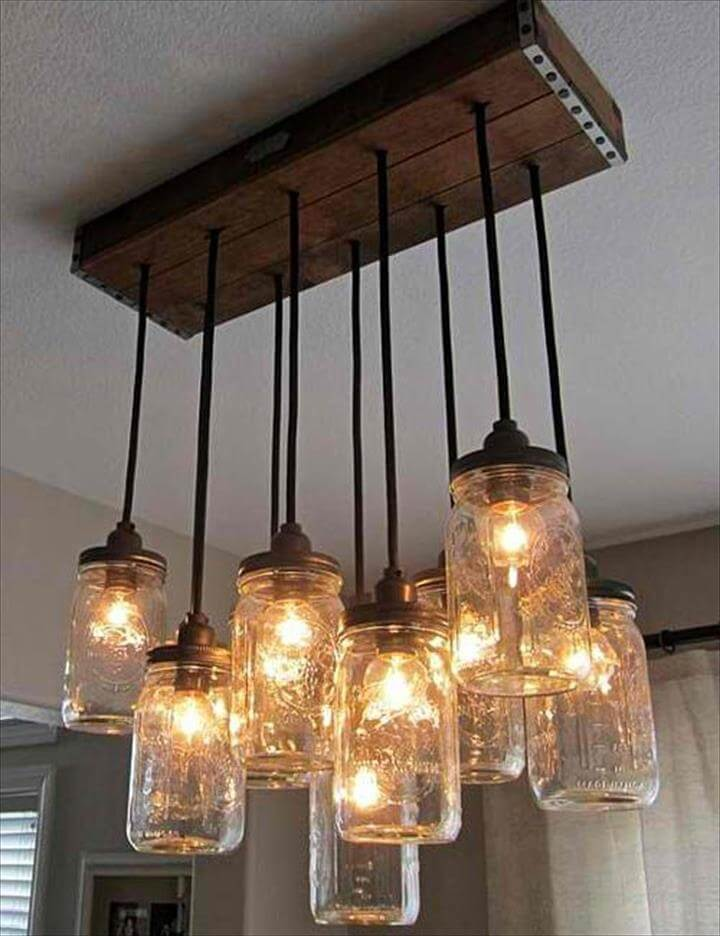 Fun lighting over bar or tables in restaurant - DIY - Mason Jar Chandelier