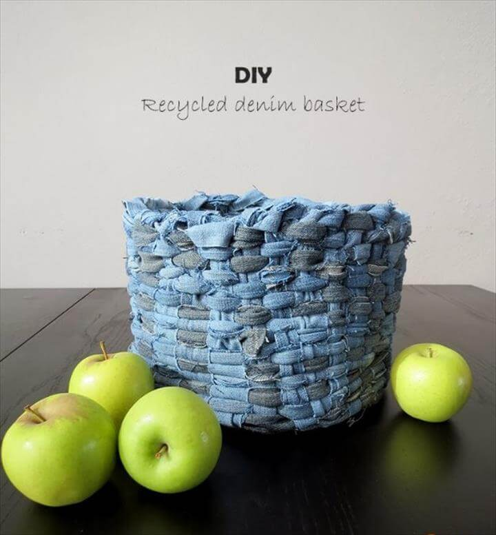 DIY Crafts with Old Denim Jeans -DIY Recycled Denim Basket - Cool Projects and Fashion