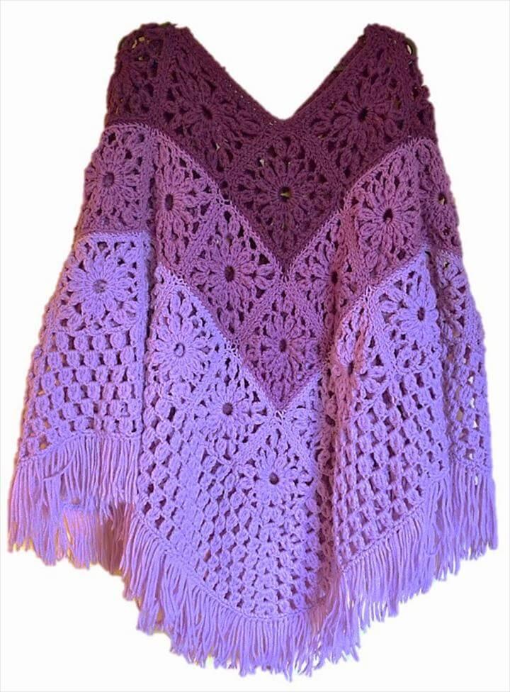 Daisy Granny Square Poncho Free Crochet Pattern