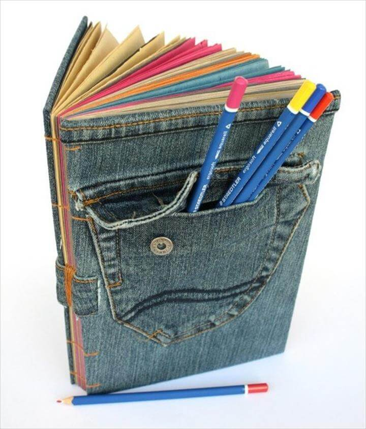 Denim Book Cover Diy ~ Diy things you can make with old jeans to