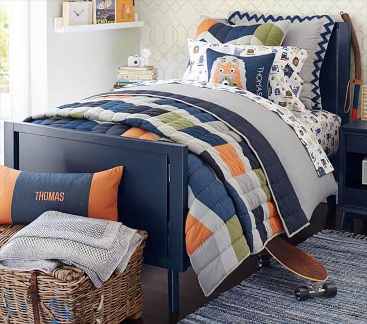 Denim Color Block Patchwork Quilted Bedding