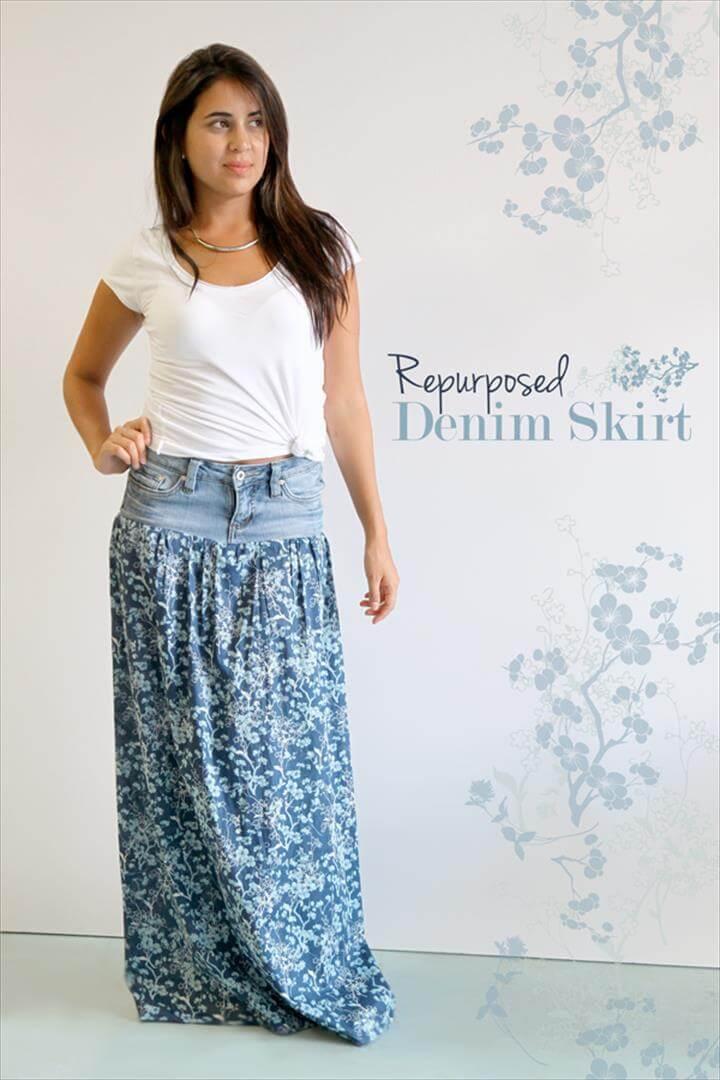0c17963ac0 Repurposed Denim Skirt: turn old jeans into vest
