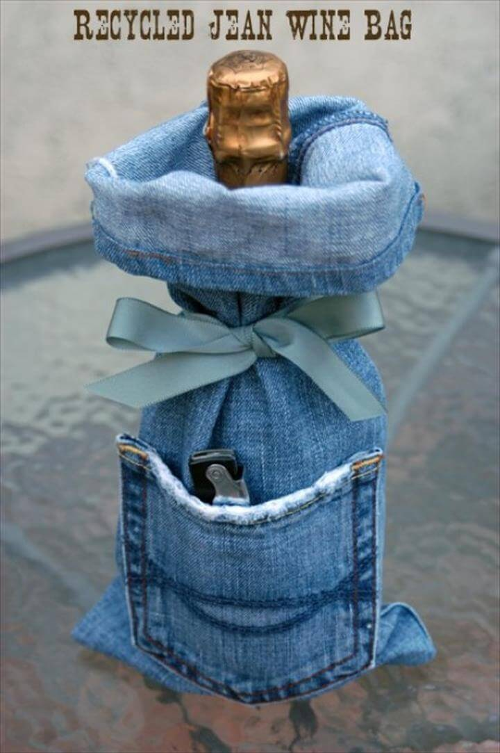 Denim Wine Bags
