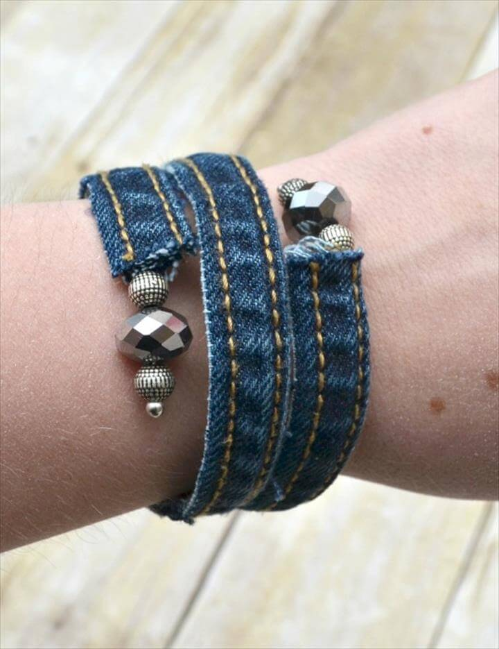 95 DIY Things You Can Make With Old Jeans DIY to Make : Denim Wrap Bracelet made from old jeans from www.diytomake.com size 720 x 935 jpeg 63kB