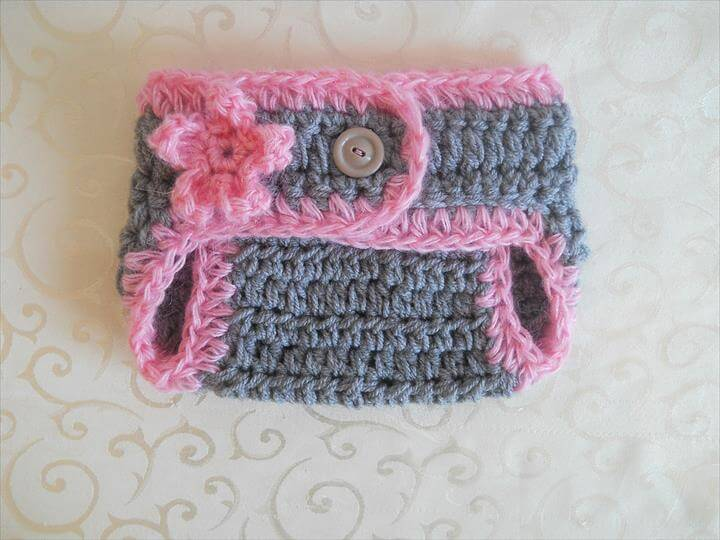 pink and grey crochet diaper cover