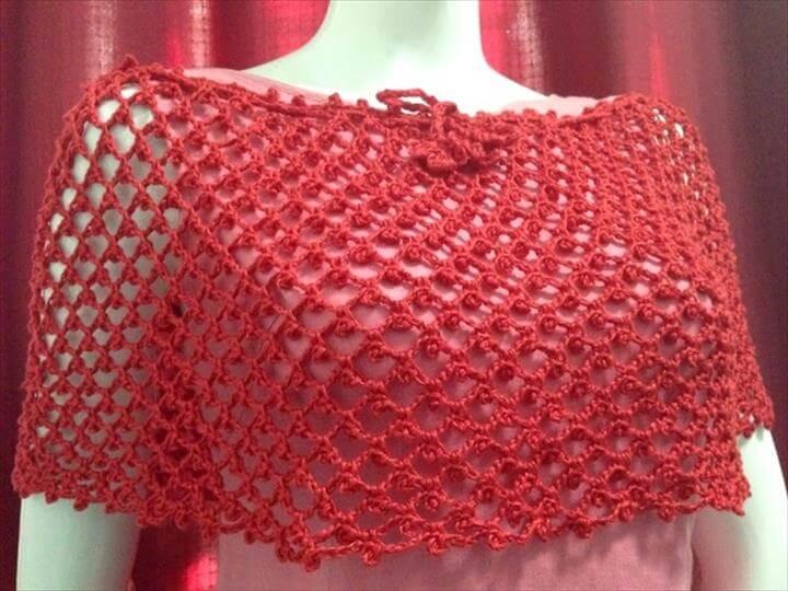 crochet red poncho